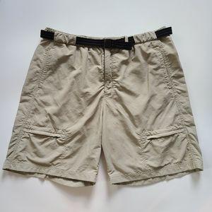 L.L. Bean Swim Trunks Camp Shorts Tan Belted XL